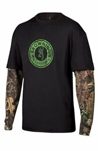 Mens NWT Browning Buckmark Black Camo Ryder Tee Layered T-Shirt Size M L XL 2XL