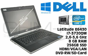 Dell Latitude E6430 Intel i7-3720QM 2,6GHz 8GB RAM 256GB SSD Win10 B-Ware