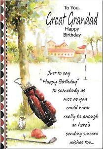 BIRTHDAY CARD FOR GREAT-GRANDAD - GOLF CLUBS, GOLF COURSE
