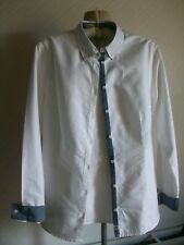 TIMBERLAND Long Sleeve White Cotton Shirt with Denim Trim, Size 10 Slim Fit