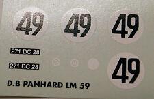 decals 1/43: DB Panhard Le Mans 1959 N°49