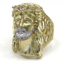 6.80 Grams 10k Yellow Real Gold Mens Large Face Jesus Hip Hop Ring