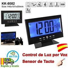 Reloj Despertador LCD Digital con Alarma Temperatura Calendario Luz Voz y Tactil