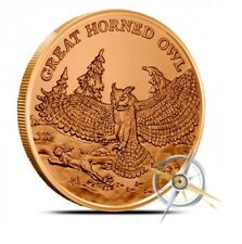 1 oz (environ 28.35 g) .999 FINE Cuivre Rond-Great Horned Owl-American Wildlife Series