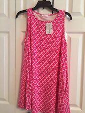 Peach Love California Dress Pink and White Quatrefoil Pattern Small NWT