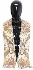 NEW $550 DOLCE & GABBANA Scarf Men's Beige Silk Jacquard Shoulder Priest Stole
