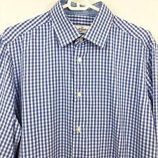 Robert Graham Men's Shirt 16-41 Blue White Checkered Long Sleeves Button Front