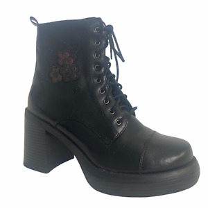 No Boundaries Women 8 SUGAR Faux Leather Combat Boots Lace Up Vegan Chunky Heel