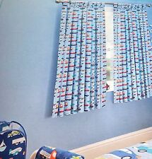 BOYS BEDROOM TAB TOP LINED CURTAINS TIE BACKS VEHICLES CARS BLUE MULTI 66x54""