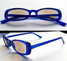 +3 Tinted Reading Glasses Blue plastic frame Sun Ready Readers E +3.00