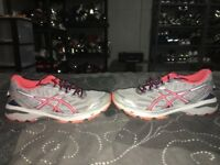 Asics GT-1000 5 Womens Athletic Running Training Shoes Size 8 Gray Pink Blue