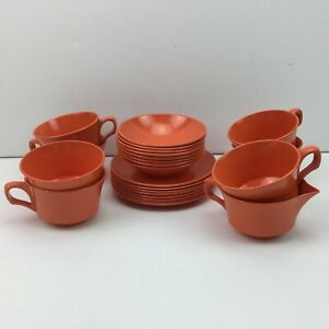 Vintage Melamine Orange 8 Dinner Plates Bowls 6 Coffee Sugar Creamer RV Camping