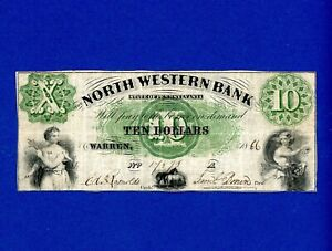 1866 $10 North Western Bank of Warren, PA VERY RARE HIGHER GRADE NOTE