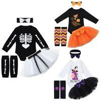 Newborn Baby Girls Romper Skeleton Jumpsuit Halloween Outfits Set Kids  Clothes