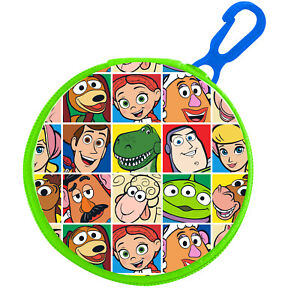 TOY STORY ROUND ZIPPED COIN PURSE WITH KEY CLIP PVC KIDS GREEN BUZZ WOODY