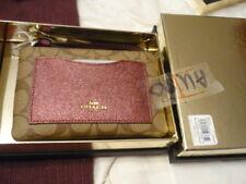 COACH  Corner Zip Wristlet Khaki with Metallic Cherry 22713 NIB with receipt