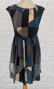 COMPTOIR DES COTONNIERS 100% Silk Dress Geometric Print Dress Size 40/Uk 12