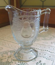 Vintage Jeanette Glass Baltimore Pear Clear Depression Glass Footed Creamer