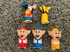 Vintage 1980s Disneyland Playmates Set - Goofy Pluto 3 Little Pigs