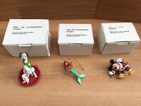 Disney Christmas Tree Ornaments 26231 101-102-105 Mickey, Dalmatians & Ariel VGC