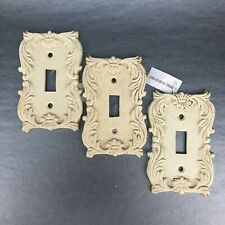 Set Of 3 Vintage Cast Iron Off White Decorative Metal Light Switch Plate Covers