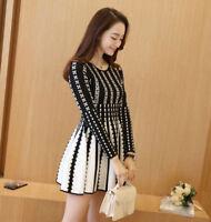 2020 Fashion NEW  Spring Korean Temperament  Shitsuke Round Collar Printed Dress