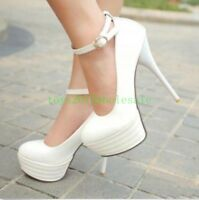 Fashion High Heel Platform Ankle Strap Stiletto Clubs Pumps Casual Women's Shoes