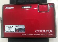 Nikon Coolpix S60 10MP Red Compact Camera amazing condition with Tamrac case!