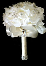 Realistic PE Foam Flowers Wedding Brooch Bouquet White Free Ship USA stock