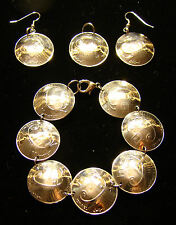 Galley Ship BRACELET EARRINGS of Israel Israeli 10 Sheqel Sheqalim coins JEWELRY
