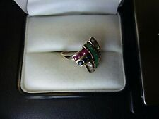 10k Yellow Gold Ruby, Emerald Sapphire Ring Size 8