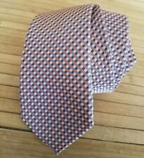 Michael Kors Pink Men's Necktie Checkered Geometric Diamond 100% Silk