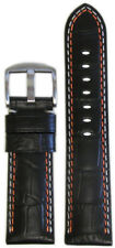 Gator Print Orange & Wht Stitch 125/75 26mm Panatime Black Leather Watch Band w