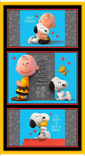 "Peanuts Charlie Brown Snoopy Love Cotton Fabric QT Good Friends 24""X44"" Panel"