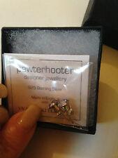 PEWTER HOOTER DESIGNER Silver 925 PALE BLUE Swarovski Crystal Studs RRP £59.00