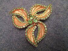 Vintage Mint Spring Green Rhinestone Swirl Gold Flower Brooch MINTY Prong Set