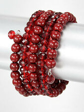 Bracelet Red Beads Crystal Glass Wire Wrap Cuff Bangle Layered Fashion Jewelry
