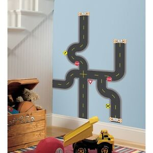 BUILD A ROAD WALL DECALS New Boys Vehicle Themed Stickers Baby Nursery Decor