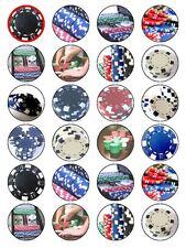 X24 Poker Casino Gambling Cumpleaños Cup Cake Toppers sobre comestibles Papel De Arroz