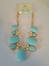 """Roxana Pale Turquoise & Ivory Color 22"""" Stones Necklace & Earrings Set NWT"""