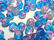 100pc 6mm Czech Crackle Glass Round Beads - Turquoise Blue & Pink 6mm  BULK