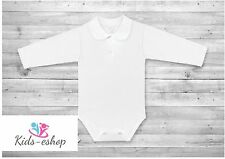 Baby Girl White Smart Bodysuit with Collar Cotton