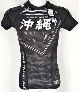 VENUM OKINAWA RASH GUARD 2.0 SHORT SLEEVE T SHIRT BLACK/WHITE MEDIUM 39.4-40.6