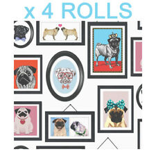 Pugs in Frames Dogs Wallpaper Canine Animals Portaits Holden Decor x 4 Rolls