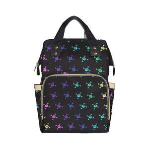 Rainbow Skulls Baby Changing Diaper Backpack Rucksack Bag Alternative