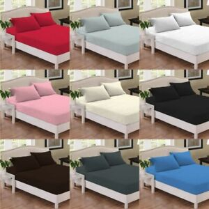Standard & Extra Deep Fitted Bed Sheets 100% Poly Cotton Blend -180 Thread Count