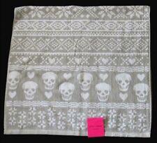 Betsey Johnson FAIRE ISLE Grey White Skulls & Hearts Terry BATH Towel NWT DISC