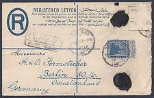 EGYPT 1920 REGISTERED LETTER PORT SAID TO GERMANY 15 MILS W/IMPRINT OF DE LA RUE