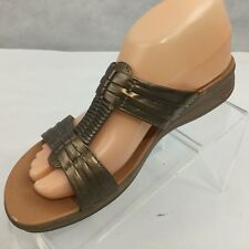 Bare Traps Justee Sandals Sz 8 M Gold Open Toe Slip On Leather Womans