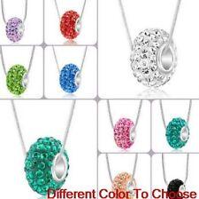 10pcs/lot mix Silver Plated Crystal Heart Shamballa Necklace Pendant snake chain